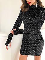 Платье бархатное по фигуре с блестками и рукавами через пальчик (р.S-M) 22PL1968, фото 1