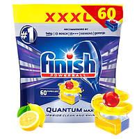 Таблетки Finish Quantum Max Lemon для посудомоечной машины 60шт, фото 1