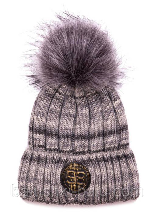 Зимняя шапка с отворотом для мальчика (флис), р. 50-56