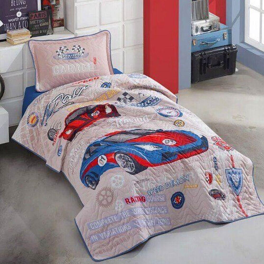 Покрывало подростковое Aran CLASY стеганное хлопковое с наволочкой 180x240 см Garage (1005853)
