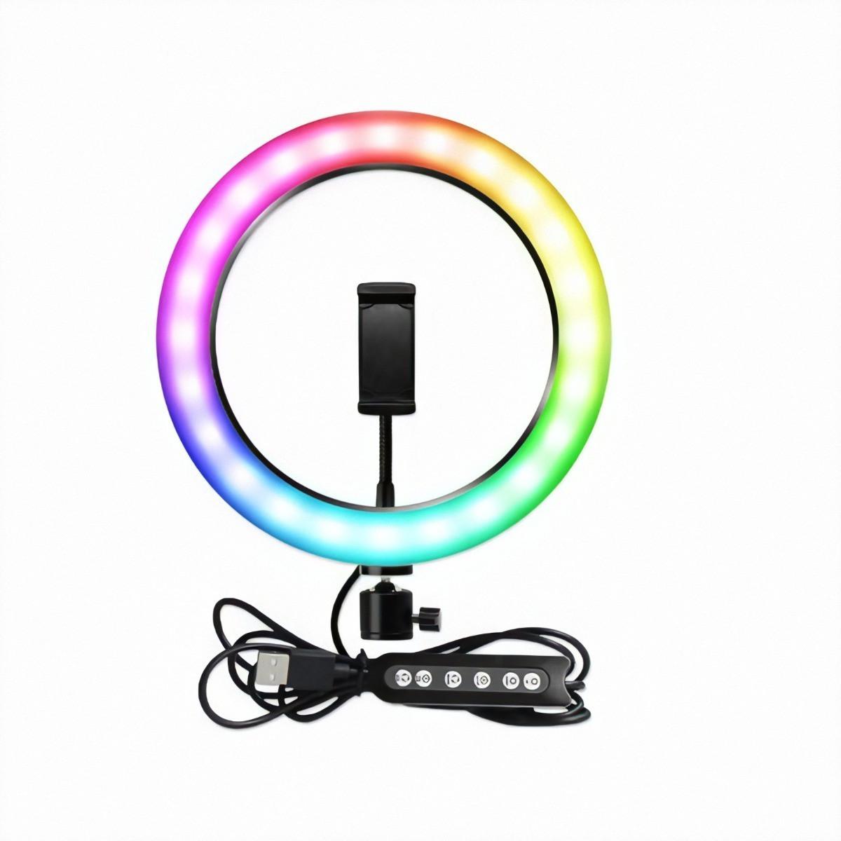 Кольцевая светодиодная LED лампа 26 см 3 белых света + 6 разноцветных