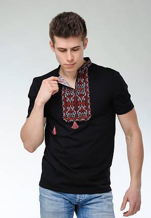 Модная мужская вышитая футболка темного цвета «Король Данило (вишневая вышивка)», фото 2