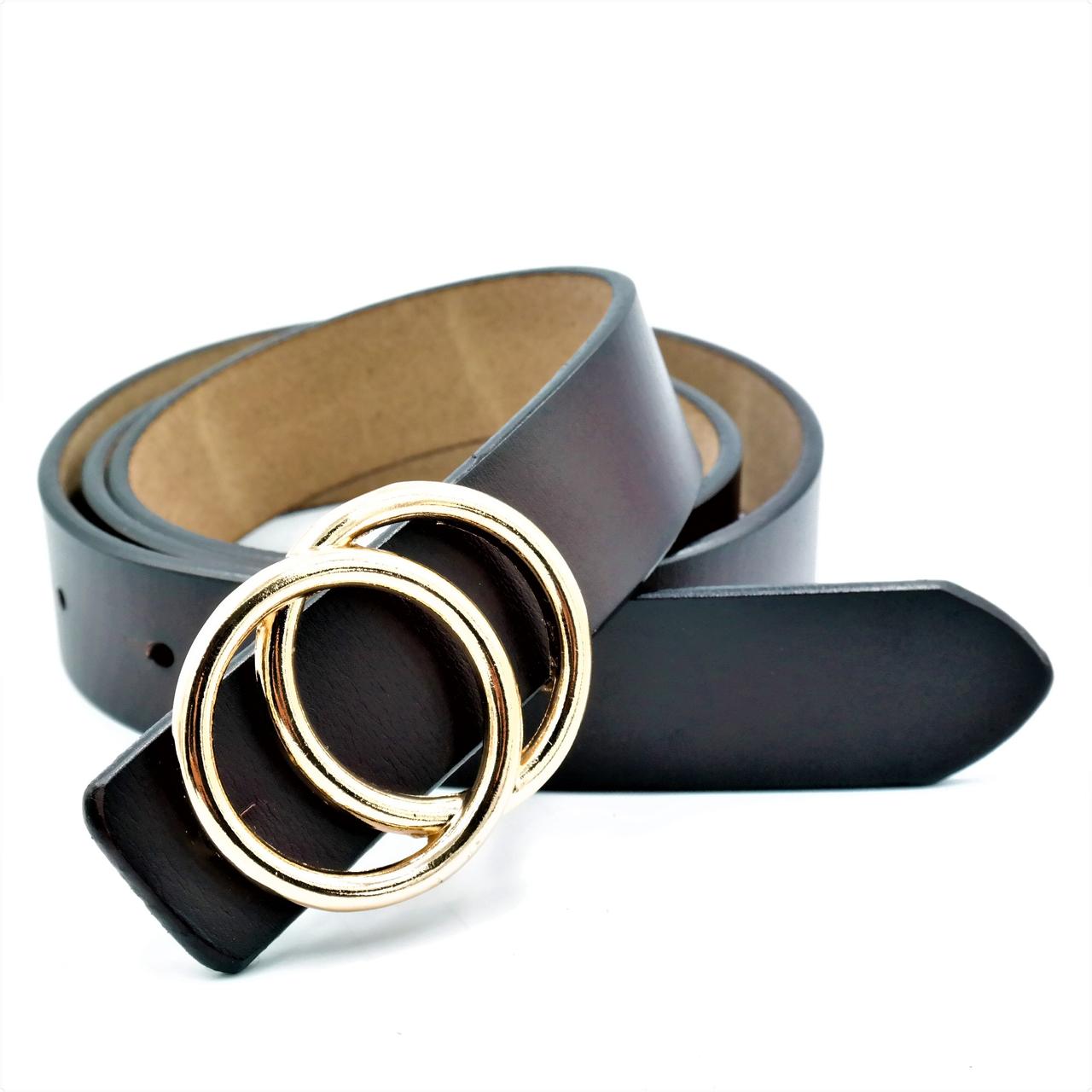 Женский кожаный ремень Le-Mon nwzh-30k-0055 Тёмно-коричневый