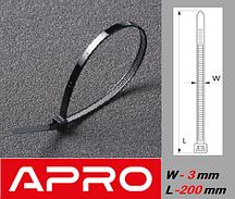 Стяжка кабельная, ультрастойкая, черная 3х200мм (уп. 100шт.)