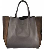 Женская сумка POOLPARTY SOHO BROWN VELOUR кожаная с замшей коричневая