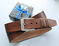 """Мужской кожаный ремень """"Lamo"""" для джинсов коричневый"""