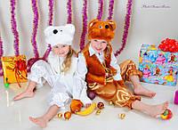 """Детский карнавальный костюм """"Мишка"""" белый и коричневый"""