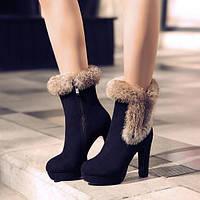 Замшевые ботиночки с меховым декором