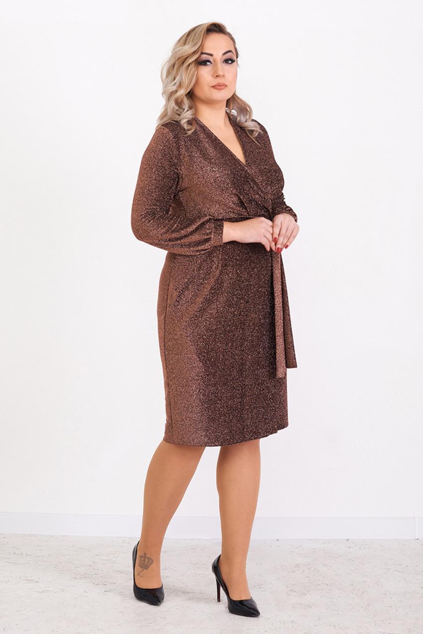 Красивое вечернее платье с люрексом Бронза 48,50,52,54 размер