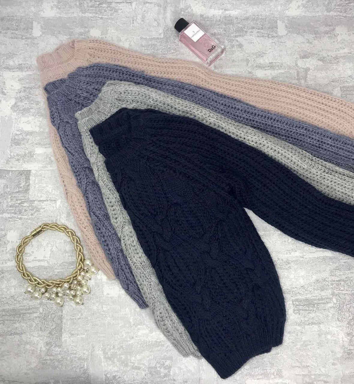 Свитер - свитшот с декоративной вязкой,  синий, Naturallove
