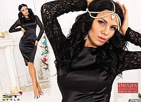 Вечернее атласное мини-платье с разрезом, фото 2