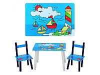 """Детский столик """"Кораблики"""" E 03-2100, деревянный, 2 стульчика"""