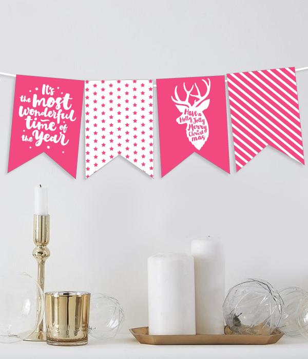"""Новогодняя гирлянда из флажков """"Pink deer"""" (12 флажков)"""