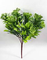 """Зеленая """"бузина""""34см,искусственный куст с мелкими ягодами, фото 1"""