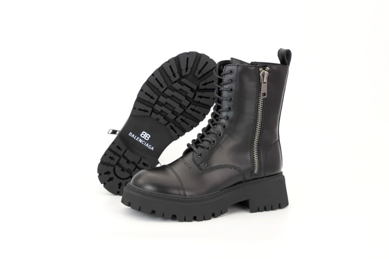 Женские зимние ботинки Bаlenсіagа Tractor 31873 черные