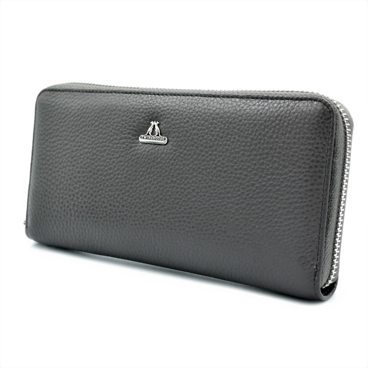 Шкіряний гаманець Twinsmouse Сірий (new-twnm-01)