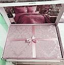 Покривало жакардове з наволочками ZERON Sonil Venus Gul Kurusu 240x260 см Рожевий (1005446), фото 2