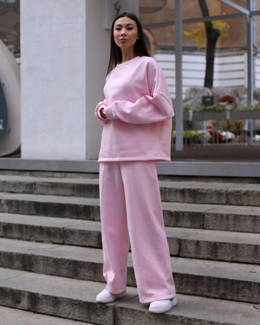 Спортивный костюм женский  розовый на флисе сезон зима Джин от бренда Тур, размеры: S-M