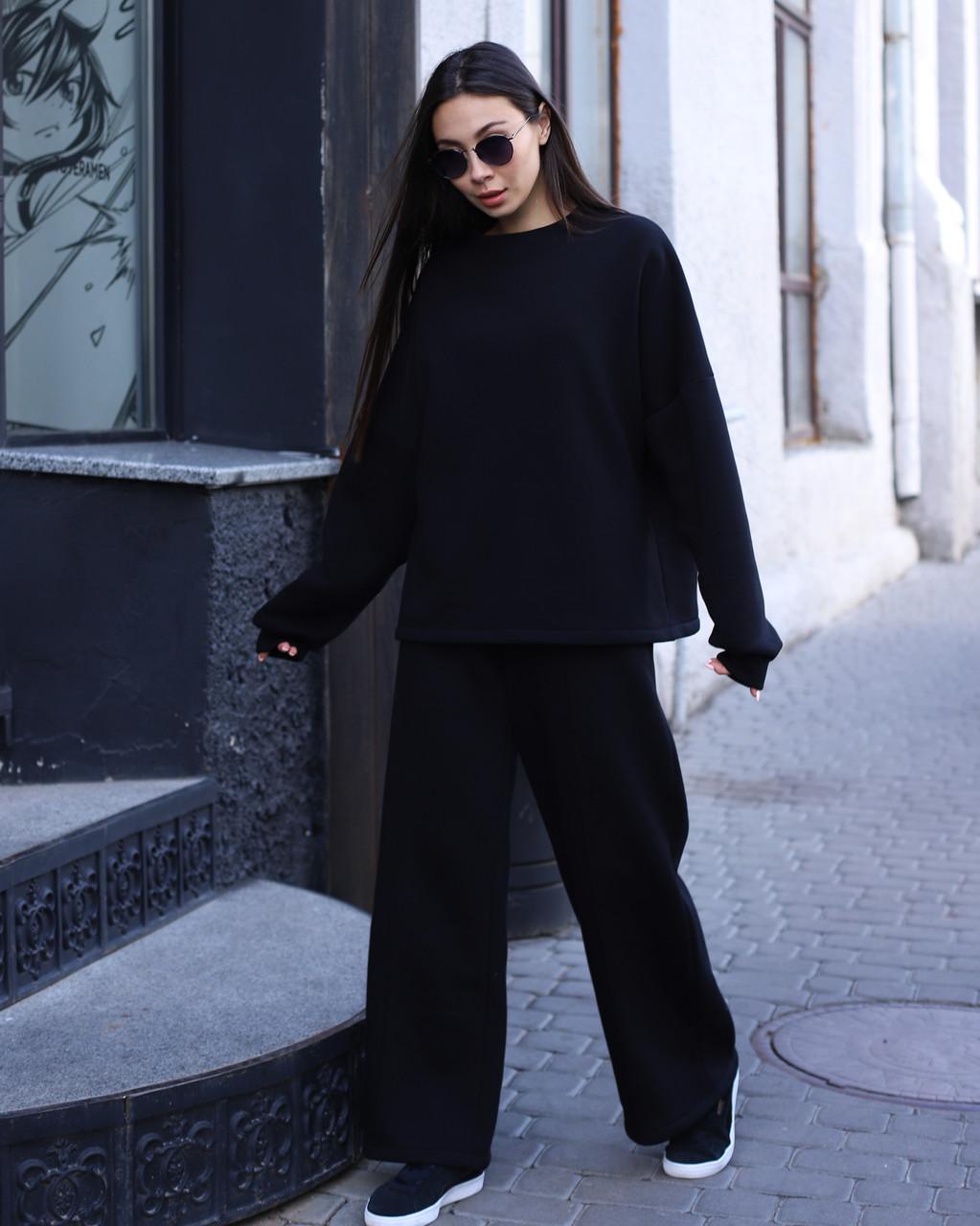 Спортивный костюм женский  чёрный на флисе сезон зима Джин от бренда Тур, размеры: S-M