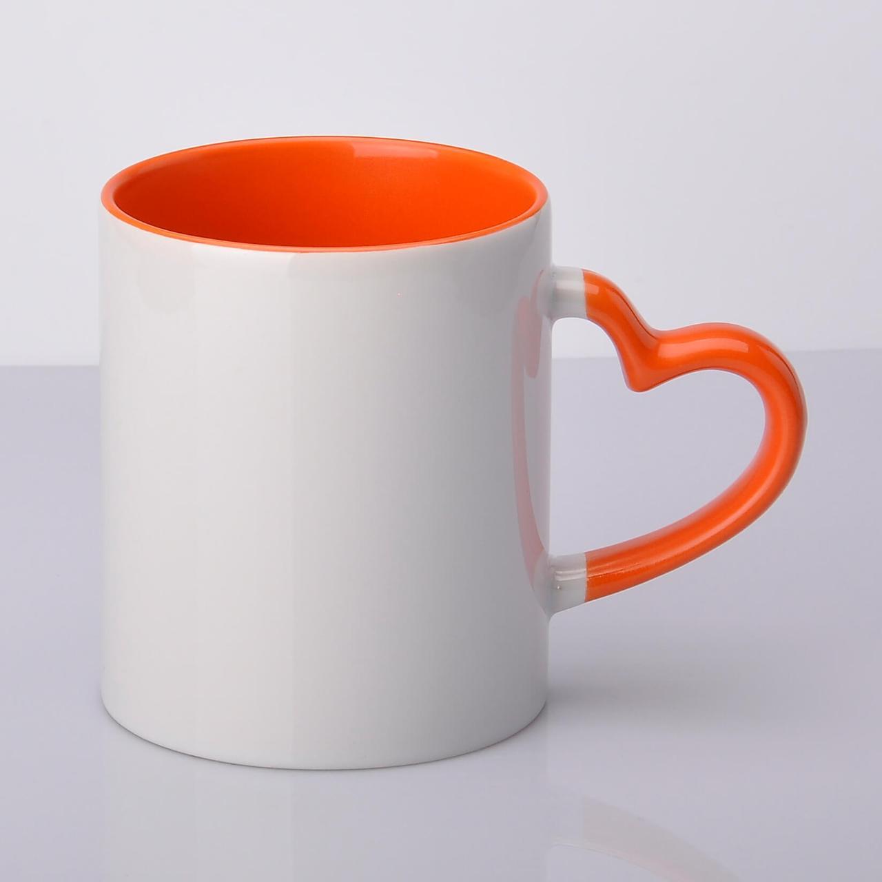 Кружка сублимационная цветная внутри и ручка Love (оранжевый)
