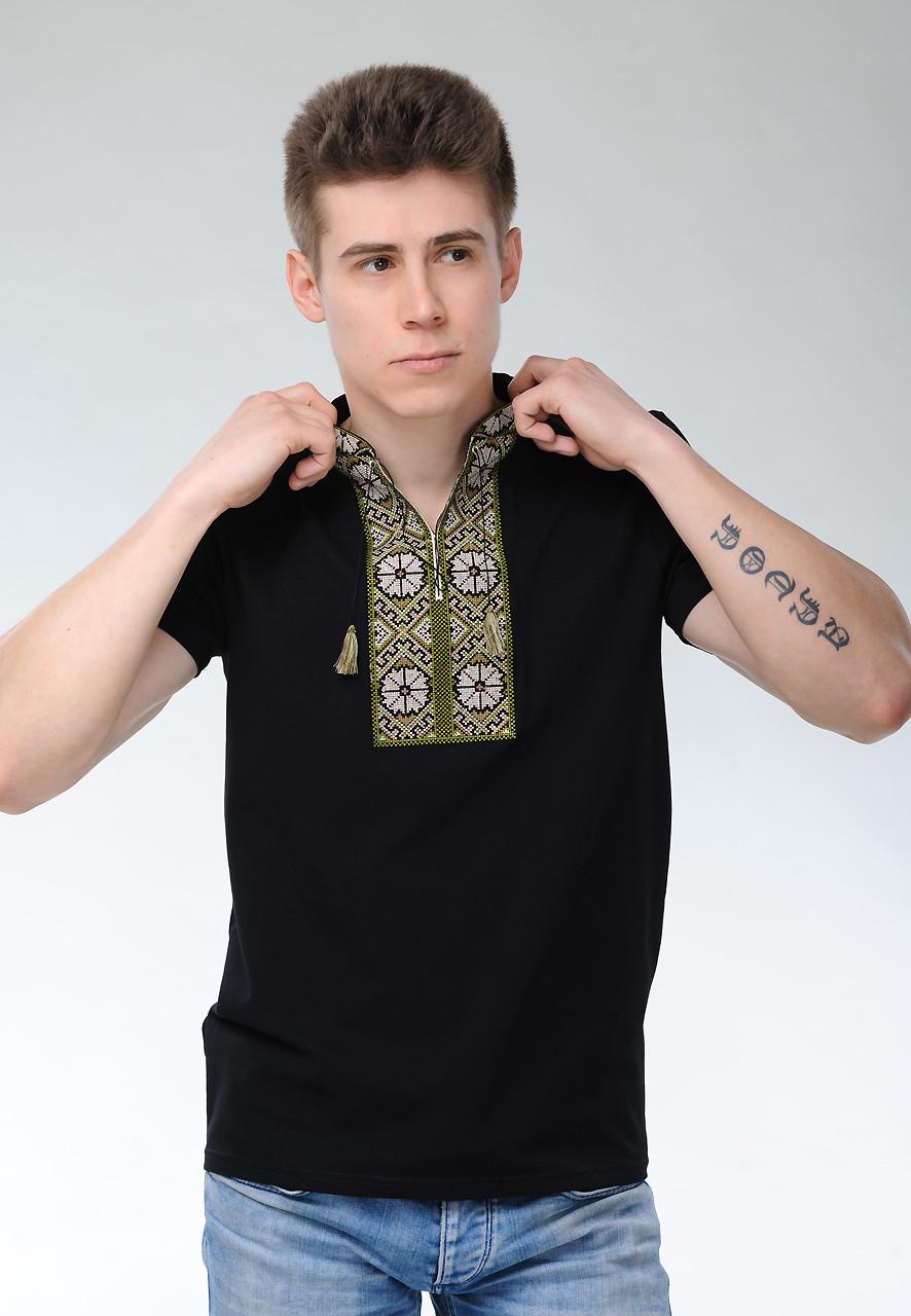 Модна чоловіча вишита футболка на короткий рукав в етнічному стилі «Сонечко (зелена вишивка)»