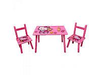 """Детский столик """"Китти"""" M 0293, деревянный, 2 стульчика"""