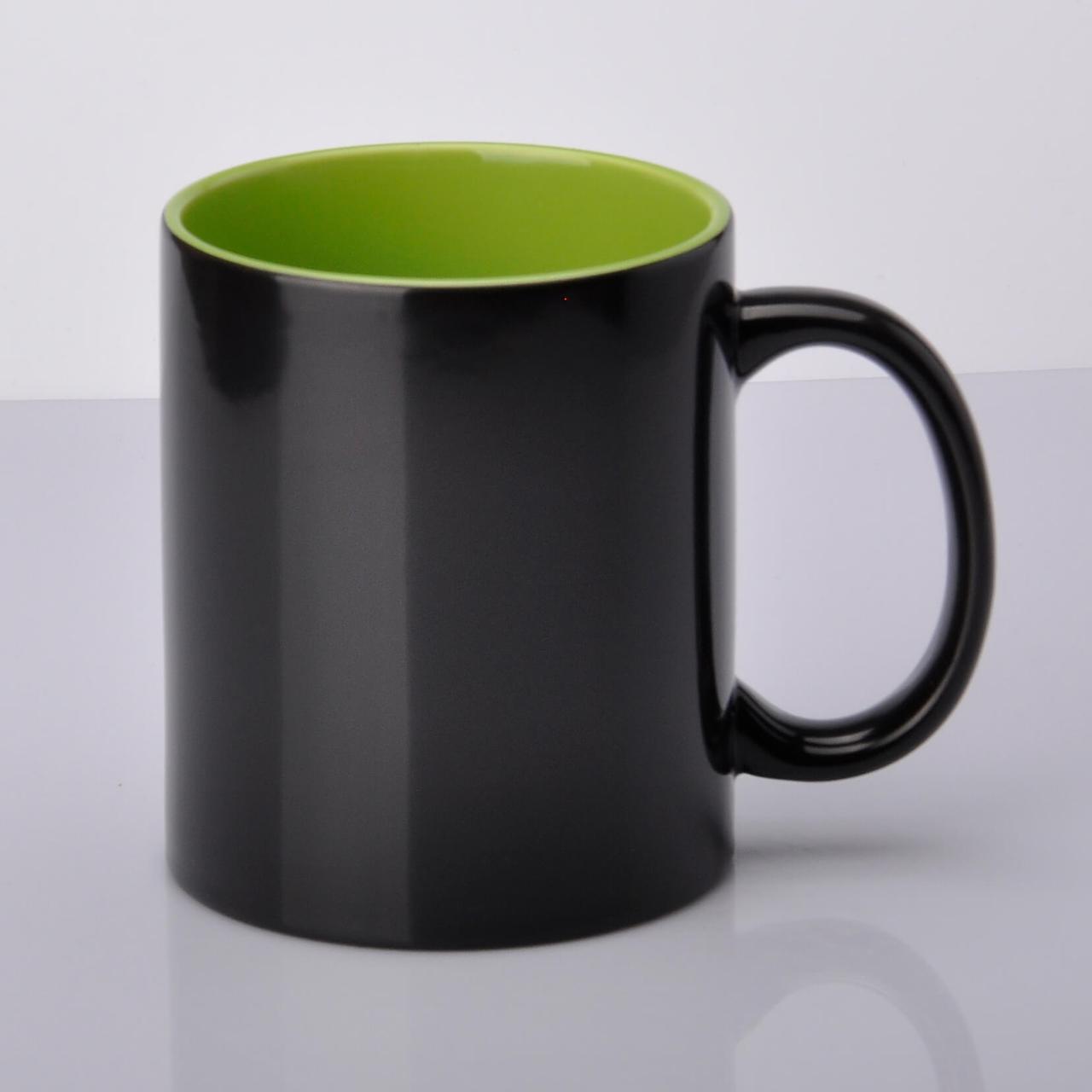 Чашка хамелеон салатовая внутри для сублимации