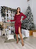 Замшевое платье-футляр с разрезом 13-354, фото 6