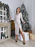 Замшевое платье-футляр с разрезом 13-354, фото 4