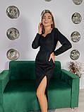 Замшевое платье-футляр с разрезом 13-354, фото 5