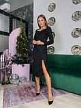 Замшевое платье-футляр с разрезом 13-354, фото 7
