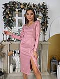 Замшевое платье-футляр с разрезом 13-354, фото 9