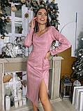 Замшевое платье-футляр с разрезом 13-354, фото 3