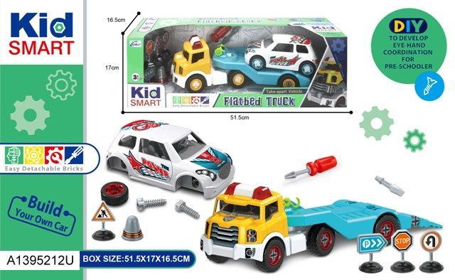Конструктор KM-295A на шурупах, трейлер, машинка, інструменти, кор., 52-17-16,5см