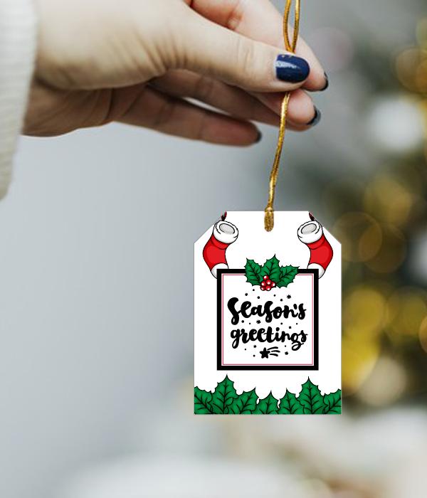 """Новогодний ярлычок для украшения подарка """"Season's Greetings"""" (1 шт.)"""
