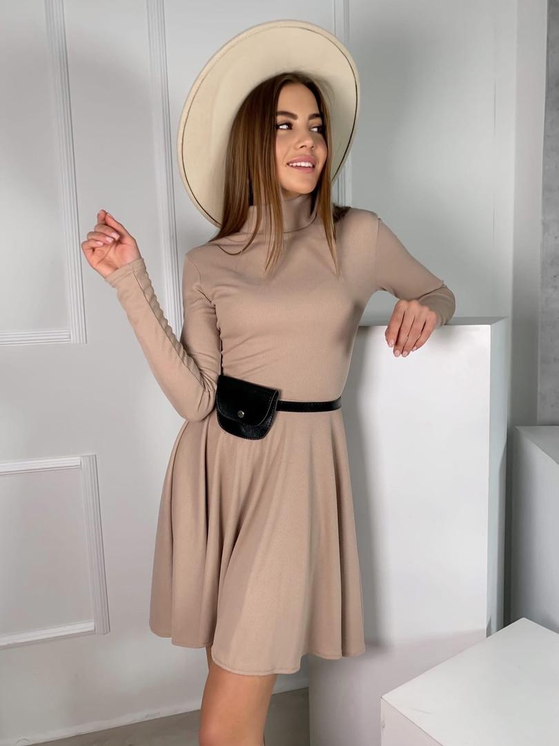 Трикотажное платье миди с сумочкой 13-356