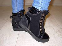 С369 - Женские ботиночки сникерсы зимние черные