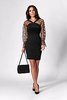 ✔️ Платье нарядное с объемными прозрачными рукавами 42-46 размера черное