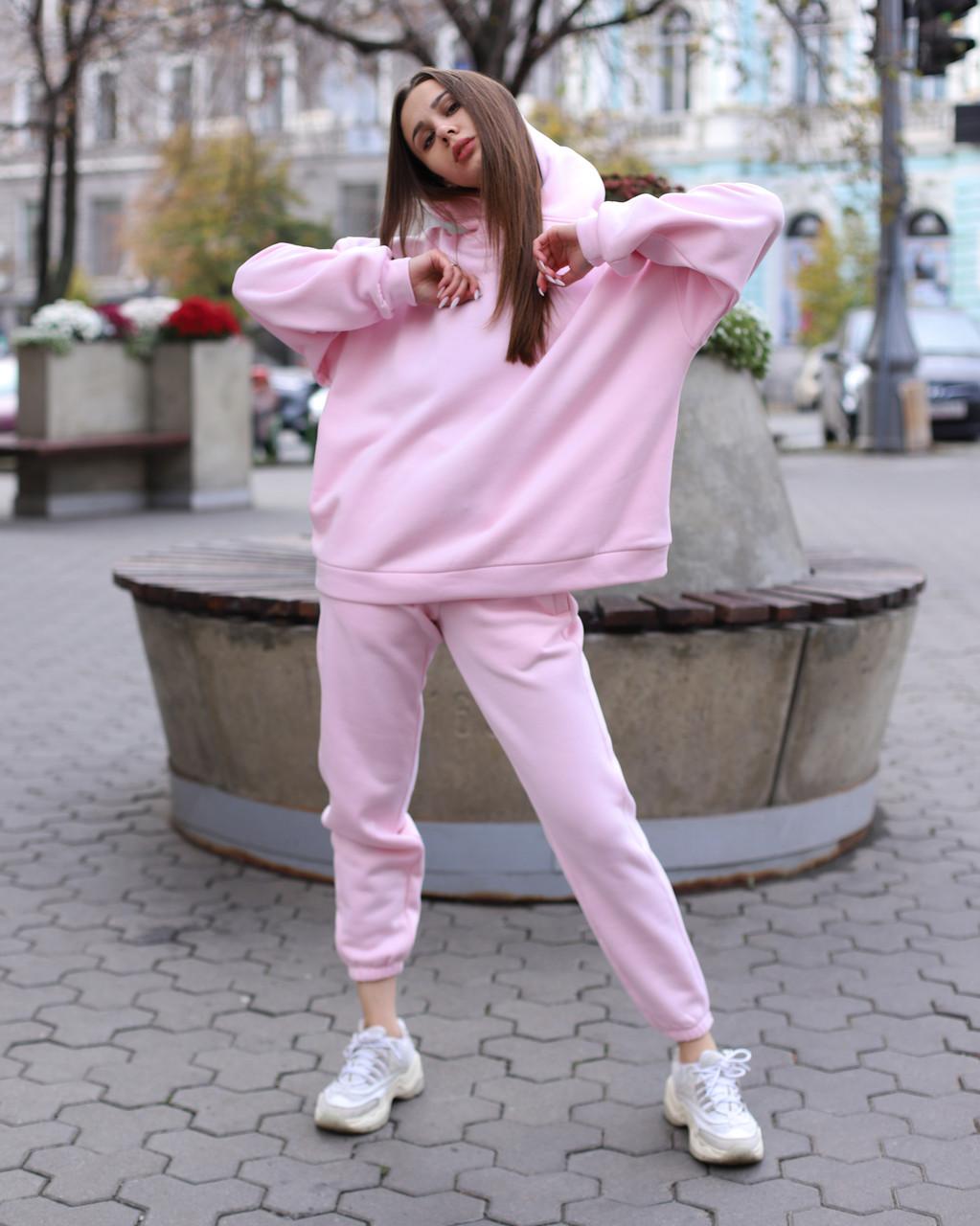 Спортивный костюм женский  розовый на флисе сезон зима Эми от бренда Тур, размеры: S,M