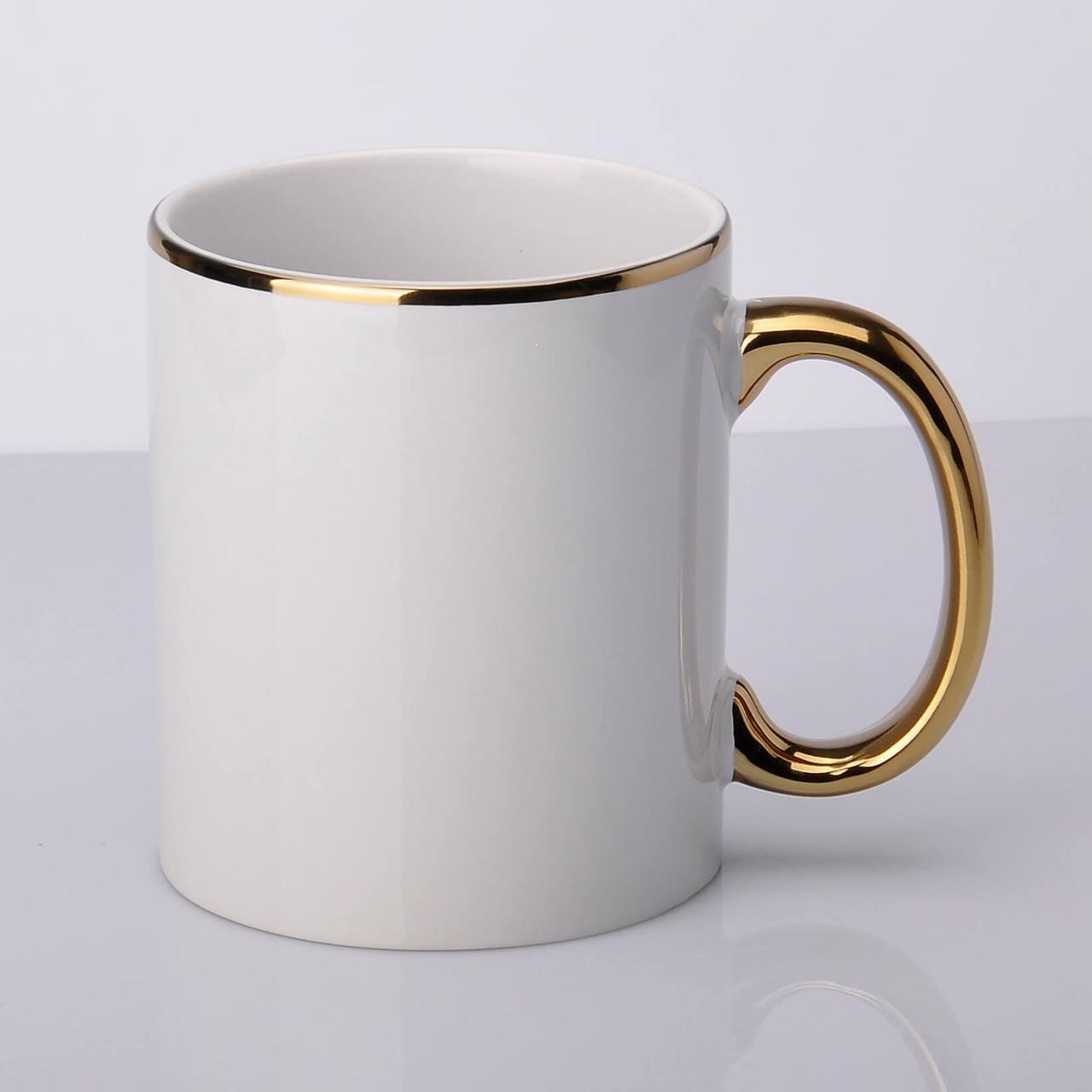 Золото (ручка и ободок Широкий) Кружка белая для сублимации 330мл