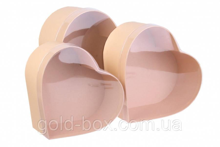 Коробочки у формі серця 3 в 1 з прозорою кришкою