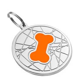 Кулон емальований Кісточка на тлі павутинки помаранчевий, діаметр 2,5 см