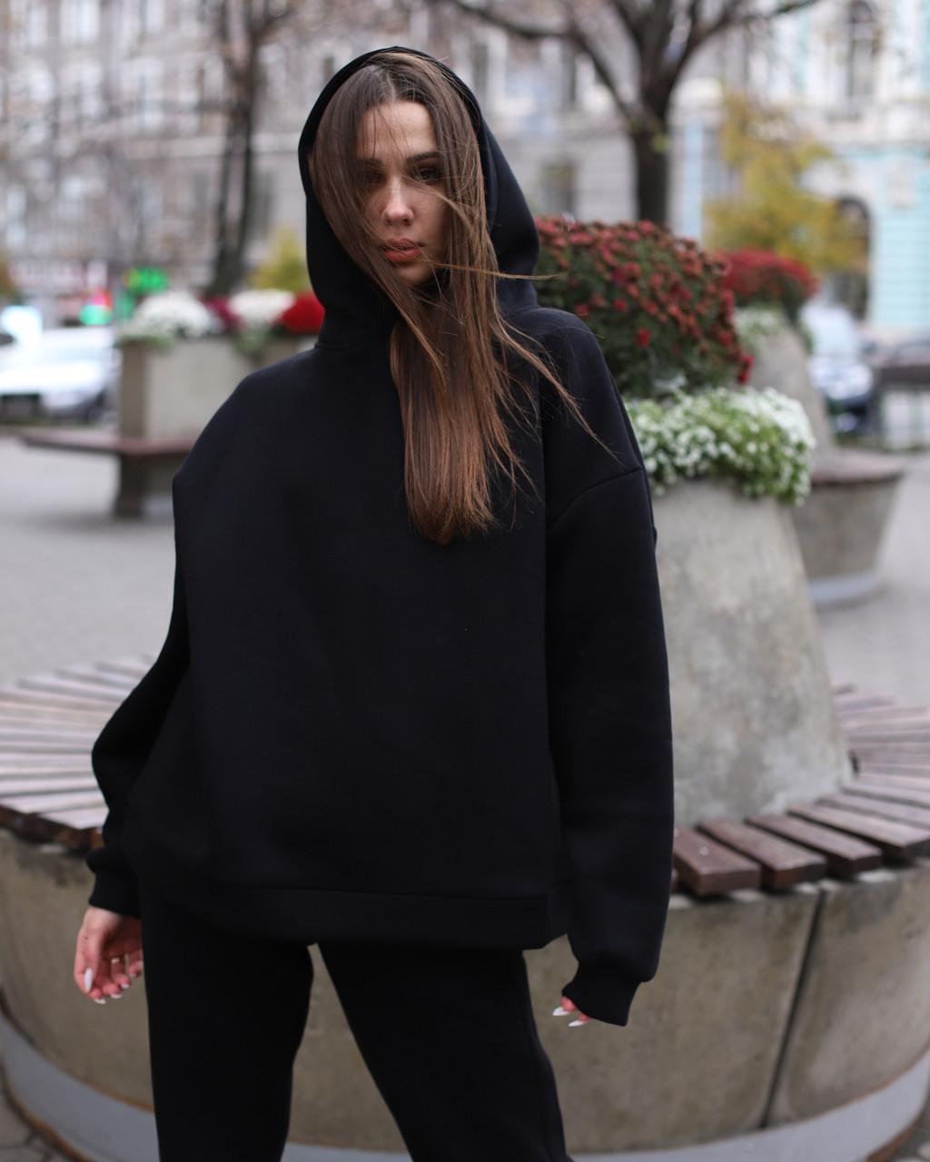 Худи женское черное Эми от бренда ТУР размер S,M