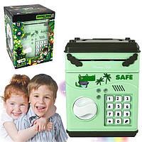 Детский сейф-копилка piggy bank с кодовым замком зеленый