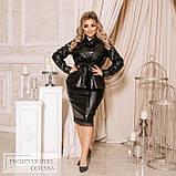 Женская стильная кожаная юбка-миди больших размеров, фото 3