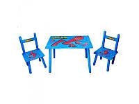 """Детский столик """"Человек-паук"""",M 0294, деревянный , 2 стульчика"""