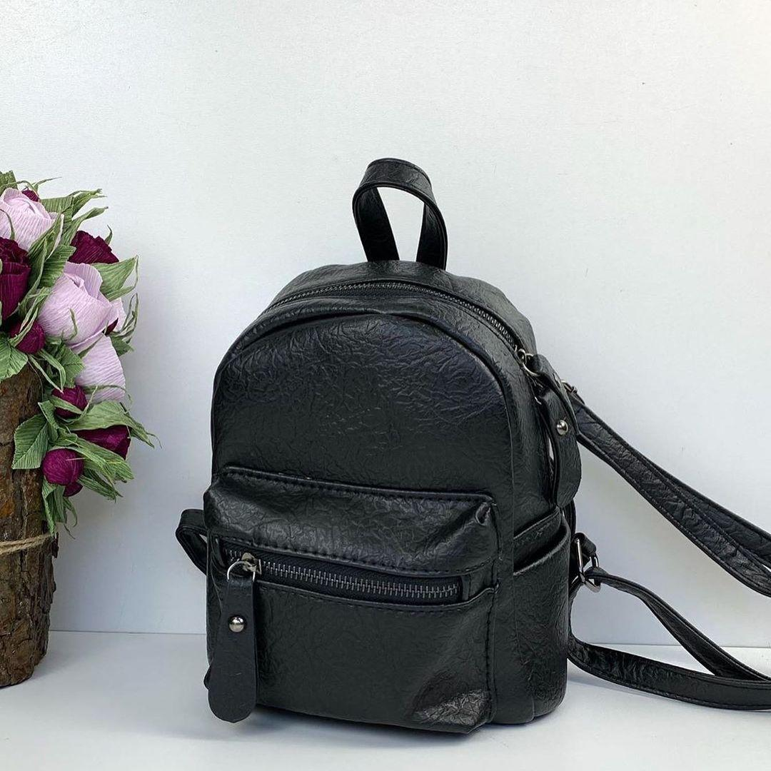 Мини рюкзак с карманом спереди   портфель фактурная структура (0559) Черный