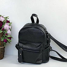 Мини рюкзак с карманом спереди | портфель фактурная структура (0559) Черный