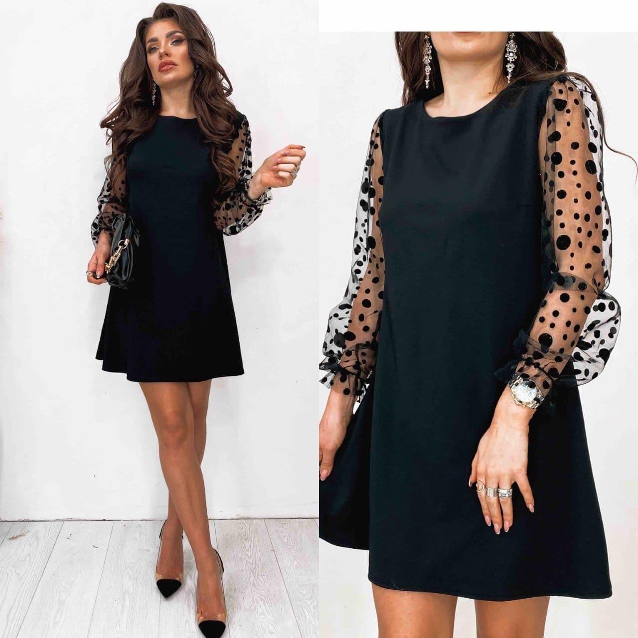 Платье - трапеция черное нарядное с рукавами из сетки в горошек (р. 42-52) 84ty1960