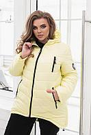 Зимняя стильная куртка-пуховик, лимон/светло-желтый цвета, арт. 300 Батал, фото 1